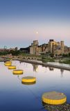 Moon over St Anthony Falls Lock & Dam Stock Photo