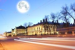 Moon over St-Petersburg Stock Image