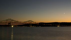 Moon over Tappan Zee Bridge Stock Photography