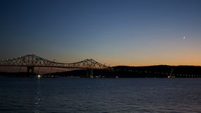 Moon over Tappan Zee Bridge Stock Photos