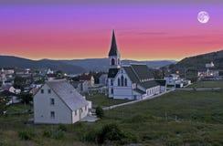 Moon over Trinity, Newfoundland, Canada Stock Photo