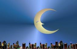 Moon over urban skyline. Illustration of moon over city skyline at night Stock Photo