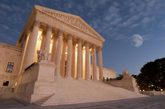 Moon over US Supreme Court. A night shot of the front of the US Supreme Court in Washington, DC Stock Images