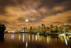 Moon Over Vancouver Night Stock Image