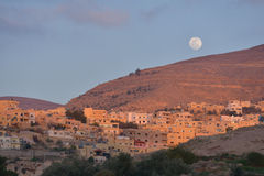 Moon over Wadi Musa, Jordan Royalty Free Stock Images