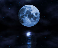 Moon over the water. Moon rising over the water abstract background Stock Images