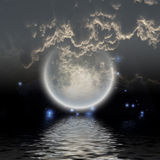 Moon over water. With stars Stock Image