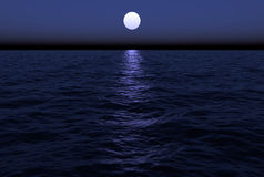 Moon Over Water Stock Photo