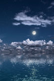 Moon over a water surface Royalty Free Stock Images