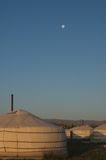 Moon over Yurt Camp in Gobi Desert Royalty Free Stock Photo