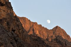Moon ower mountains Royalty Free Stock Image