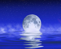 Moon på horisonten royaltyfri illustrationer
