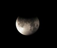 Moon,partial lunar eclipse Los Angeles,California Royalty Free Stock Photography