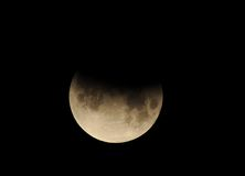 Moon, partial lunar eclipse Los Angeles,California Royalty Free Stock Photo