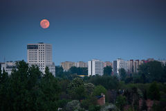 Moon perigee over Warsaw Royalty Free Stock Images