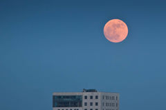 Moon perigee over Warsaw Royalty Free Stock Image