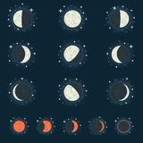 Moon phase. All possible phases of the moon and the lunar eclipse, on a dark star background Royalty Free Stock Photo