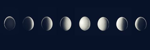 Moon Phase show by Egg in night with shadow Planet. Food concept Space Background collage stock images