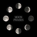 Moon Phasennachtraumastronomie- und -naturmondphasen-Bereichschatten Stockfotos