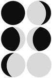 Moon phases. Six moon phases. Illustration set Stock Photos