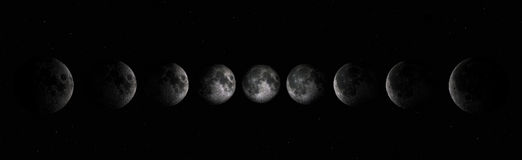 Moon phases. Phases of the moon. Full moon, Old moon. Young moon. Moon Phases Stock Photo