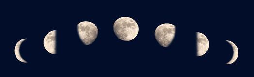 Moon phases. Changing phases of the Moon Royalty Free Stock Photography