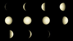 Moon phases. Set of 12 Moon phases Royalty Free Stock Photo