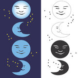 Moon Phases. Vector moon phases-eps file available Royalty Free Stock Images