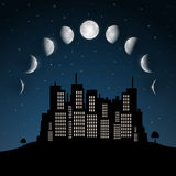 Moon Phases above Night City Royalty Free Stock Photography