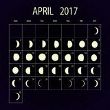 Moon phases calendar for 2017. April. Vector illustration. Stock Image