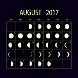 Moon phases calendar for 2017. August. Vector illustration. Royalty Free Stock Image