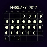 Moon phases calendar for 2017. February. Vector illustration. Royalty Free Stock Photo