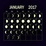 Moon phases calendar for 2017. January. Vector illustration. Royalty Free Stock Photo