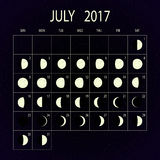 Moon phases calendar for 2017. July. Vector illustration. Stock Photography