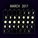 Moon phases calendar for 2017. March. Vector illustration. Stock Image