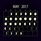 Moon phases calendar for 2017. May. Vector illustration. Royalty Free Stock Photography