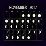 Moon phases calendar for 2017. November. Vector illustration. Royalty Free Stock Image