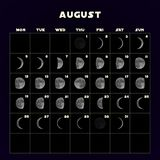 Moon phases calendar for 2019 with realistic moon. August. Vector. Moon phases calendar for 2019 with realistic moon. August. Vector EPS 10 stock illustration