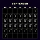 Moon phases calendar for 2019 with realistic moon. September. Vector. Moon phases calendar for 2019 with realistic moon. September. Vector EPS 10 stock illustration