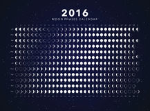 Moon phases calendar vector. 2016 moon phases calendar vector dark background Royalty Free Stock Photos
