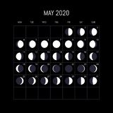Moon Calendar May 2020 Moon Phases Calendar For 2020 Year. May. Night Background Design