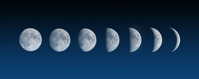 Moon phases changes Stock Photo