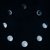 Moon phases collage Royalty Free Stock Photo