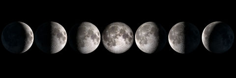 Moon phases collage stock photos