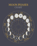 Moon phases flat vector background Royalty Free Stock Photography