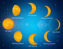 Moon phases. Illustration of moon phases in the sky vector illustration