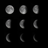 Moon phases. Image displaying the 9 phases of moon royalty free stock photo