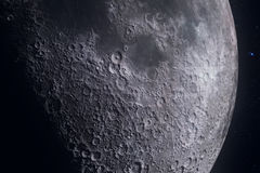 Moon phases with light motion of moon surface with crater on starlight background, universe and science Royalty Free Stock Photos