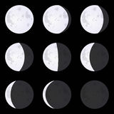 Moon Phases: new moon, full moon, crescent. Set of vector illust. Moon Phases: new moon, full moon, crescent, eclipse. Set of vector illustrations isolated on a Stock Photography