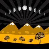 Moon Phases - Night Landscape with Trees Stock Photography